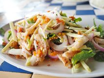 Thai food. Spicy crab and crustacean eggs salad seafood Royalty Free Stock Image