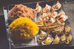 Thai food. Spicy food at Damnoen Saduak Floating Market near Ban Stock Photo