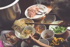 Thai food. Spicy food at Damnoen Saduak Floating Market near Ban Royalty Free Stock Photography