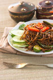 Thai food; spicy fried noodle with pork Royalty Free Stock Image