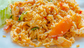 Thai Food, spicy lemon grass soup sea food fried rice Stock Photo