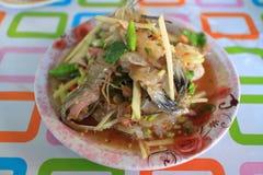 Thai food spicy mantis shrimp salad Stock Images