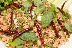 Thai food spicy minced chicken salad Royalty Free Stock Images