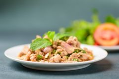 Thai food, spicy minced pork salad Larb Moo. Popular Northeastern food in Thailand Royalty Free Stock Photos