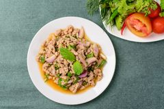 Thai food, spicy minced pork salad Larb Moo. Top view of food Royalty Free Stock Images