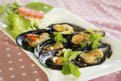Thai food spicy Mussel Stock Photos