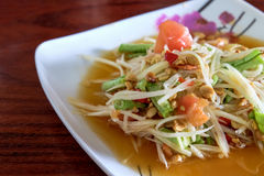 Thai food, spicy papaya salad. The famous Thai food, spicy papaya salad Royalty Free Stock Image