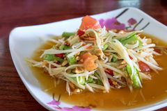 Thai food, spicy papaya salad. The famous Thai food, spicy papaya salad Stock Photos