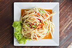 Thai food - spicy papaya salad or Somtum Royalty Free Stock Photography
