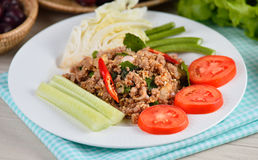 Thai food, spicy pork with chili Stock Image
