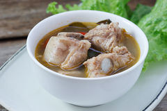 Thai food Spicy soup with pork rips and lemon grass,select focus Stock Image