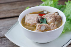Thai food Spicy soup with pork rips and lemon grass,select focus Royalty Free Stock Photos