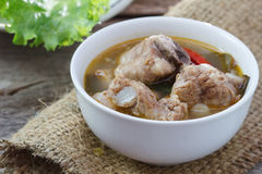 Thai food Spicy soup with pork rips and lemon grass,select focus Stock Photos