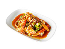 Thai food, spicy squid mixed with spices Stock Images