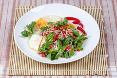 Thai food ,Spicy wing bean with pork topped fried egg. Stock Images