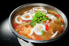 Thai Food,Squid ring in spicy soup stock images
