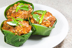 Thai food, Steamed fish with curry paste Royalty Free Stock Photography