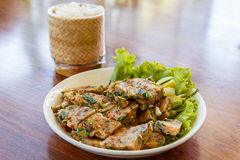Thai Food Steamed fish with curry with sticky rice in wicker bas Stock Photography