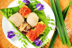 Thai food, Sticky Rice with various Topping on banana leaf. stock photography