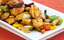 Thai food,stir fired chicken with cashew nuts Royalty Free Stock Image