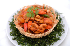 Thai food,stir fired chicken with cashew nuts Stock Images