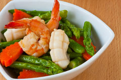 Thai food, Stir-fried asparagus with seafood. Thai healthy food stir-fried asparagus, carrot and seafood Stock Photography