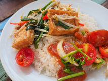 Thai, Food,. Stir fried bean sprouts with tofu and minced pork and pork Royalty Free Stock Photo