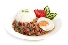 Free Thai Food Stir-fried Beef Spicy And Basil Served With Rice Stock Photography - 183867772