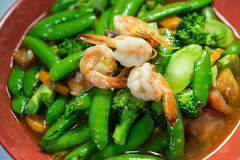 Thai food. Stir-Fried Broccoli Broccoli, sweet peas and shrimp in oil oysters Stock Images