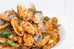 Thai food , Stir fried clams with roasted chili paste Stock Photo