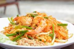 Thai food - stir fried noodles with prawns (Pad Thai) Stock Image