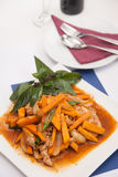Thai food, Stir fried pumpkin with egg. Royalty Free Stock Photo