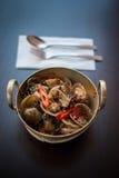 Thai food stir fried seafood. stock photos