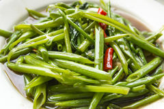 Thai food. Stir Fried Water Spinach,Thai food Stock Photos