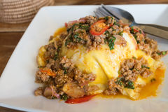 Thai food stlye:Minced Pork served with rice and fried egg. Stock Photo