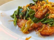 Thai food stlye:Spicy Stir fried instant noodle &fried pork Stock Image