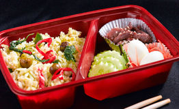 Thai food style in bento rice box Royalty Free Stock Image