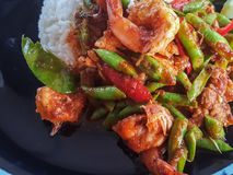 Thai food style delicious:Stir spicy fried shrimp curry lentil Stock Images