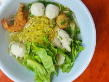 Thai food style:A prawn noodle soup served with pork and meaball. Royalty Free Stock Photo