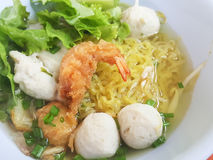 Thai food style:A prawn noodle soup served with pork and meaball. Royalty Free Stock Image