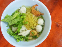 Thai food style:A prawn noodle soup served with pork and meaball. Royalty Free Stock Images