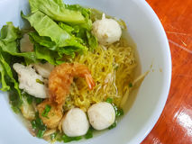 Thai food style:A prawn noodle soup served with pork and meaball. Royalty Free Stock Photography