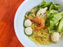 Thai food style:A prawn noodle soup served with pork and meaball. Stock Photography
