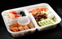 Thai food style ready made in bento rice box Royalty Free Stock Photos