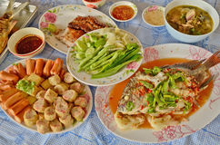 THai food style set. Yummy thai food style for party Stock Images