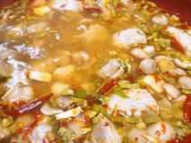 Thai food style, Soft focus of hot and spicy soup with pork as a background. This food is most popular Thai food, Tom Yam is Thai traditional, Top view royalty free stock photos