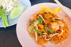 Stir-fried rice noodles (Pad Thai). Thai food style , stir-fried rice noodles (Pad Thai Royalty Free Stock Image