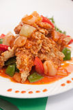 Thai food, sweet and sour with deep fried fish. Royalty Free Stock Photography