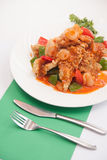 Thai food, sweet and sour with deep fried fish. Stock Photo