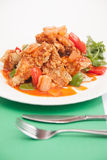 Thai food, sweet and sour with deep fried fish. Stock Image
